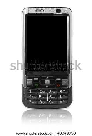 mobile technology. modern cell phone isolated on white - stock photo
