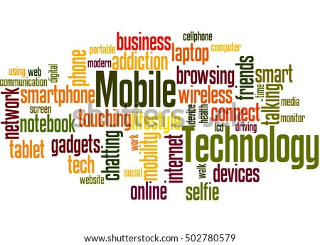 Mobile Technology, word cloud concept on white background.
