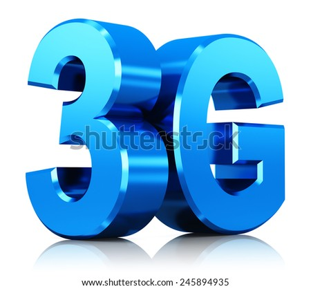 Mobile telecommunication cellular high speed data connection business concept: blue metallic 3G standard wireless communication technology logo, symbol, icon or button isolated on white background - stock photo
