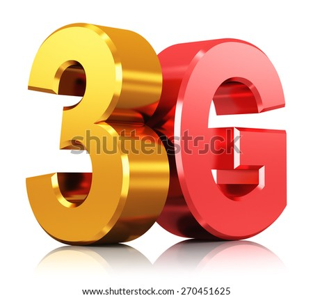 Mobile telecommunication cellular high speed data connection business concept: red and yellow metal 3G wireless communication technology logo, symbol, icon or button isolated on white background - stock photo