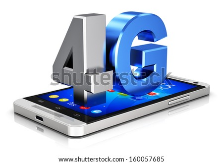 Mobile telecommunication cellular high speed data connection concept: 4G LTE wireless communication technology logo, symbol, icon or button on touchscreen smartphone with interface isolated on white - stock photo