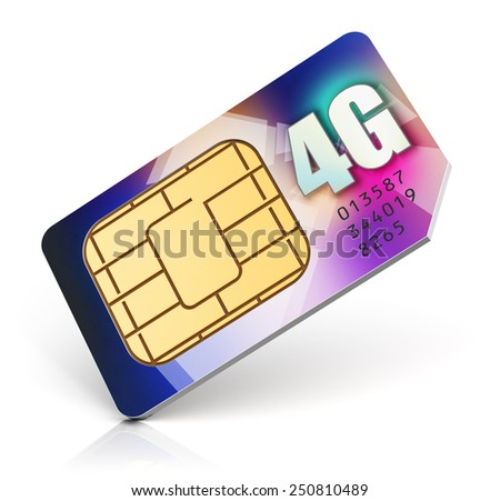 Mobile telecommunication, wireless technology and mobility business communication internet concept: color SIM card for mobile phone or smartphone with 4G LTE connection capability isolated on white - stock photo