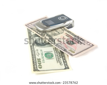 mobile telephone and dollar banknotes on white background