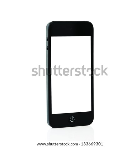 mobile touch phone with isolated screen - stock photo