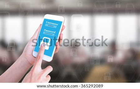 Mobile touch screen phone with text username and password on the screen can be assembled on your ad. - stock photo