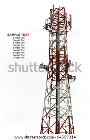 mobile tower antenna isolated - stock photo