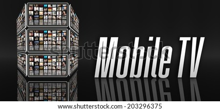 Mobile TV concept, tablets with many icons or LCD panels - stock photo