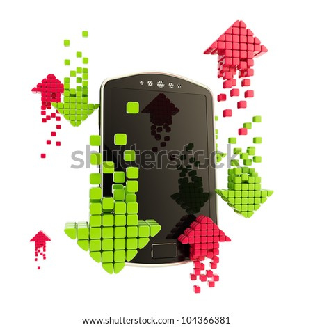 Mobile upload and download concept as phone illustration with red and green arrow icons isolated on white - stock photo
