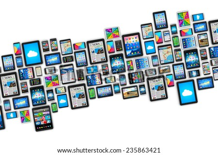 Mobility and digital wireless communication technology business concept: group of tablet computer PC and smartphones or mobile phones with display interfaces with icons isolated on white background