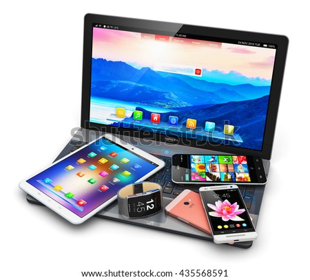 Mobility and internet business communication technology web concept: 3D render of devices: smartphone or mobile phone, tablet computer PC, laptop or notebook and smartwatch or clock or fitness tracker - stock photo