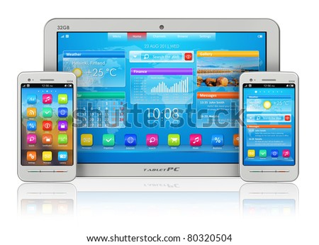 Mobility concept: white tablet PC and smartphones isolated on white reflective background - stock photo