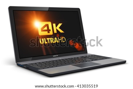 Mobility PC computer web technology and internet communication concept: 3D render illustration of business laptop or office notebook with 4K UltraHD display screen resolution isolated on white - stock photo