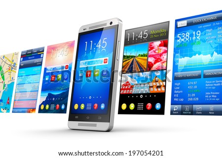Mobility, wireless communication and app downloading internet web business concept: modern smartphone with group of colorful application interfaces with icons and buttons isolated on white background - stock photo