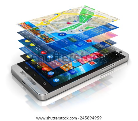 Mobility, wireless communication and app downloading internet web business concept: smartphone with group of colorful application screen interfaces with icons and buttons isolated on white background - stock photo