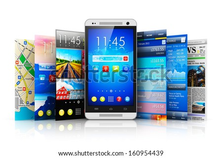 Mobility, wireless communication and app downloading internet web concept: touchscreen smartphone with group of colorful application interfaces with icons and buttons isolated on white background - stock photo