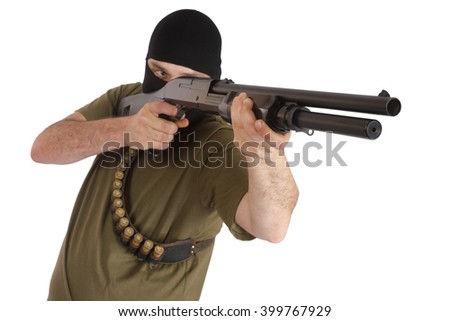 mobster in black mask with shotgun isolated - stock photo