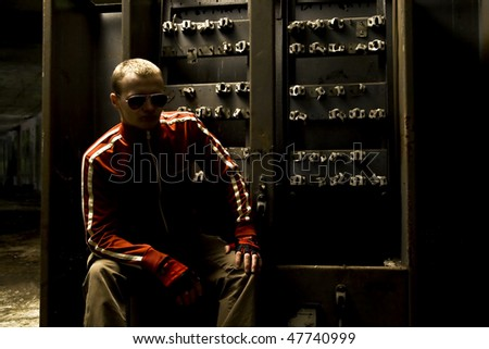 mobster undergrounder with glasses - stock photo
