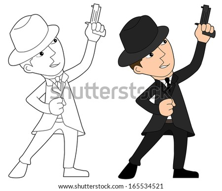 Mobster with gun illustration, coloring book line-art - stock photo