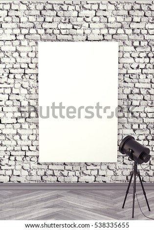 Mocap interior gallery. Rough wall of white brick. Gray wooden parquet. Painting with a blank canva, illuminated by floodlight. 3d rendering.