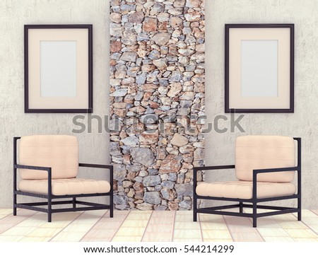 Mocap interior room. Room with gray plastered walls and bright floor tiles. Decorative stone panels. Light chair. Frames with a blank canvas. 3d rendering.