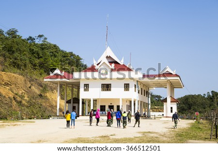 Mocchau, Vietnam - Jan 10, 2016: Laos - Vietnam immigration border check point in Mocchau, Vietnam - stock photo