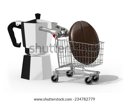 mocha and shopping cart with big coffee bean inside, isolated on white 3d illustration - stock photo