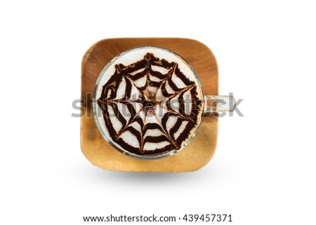 Mocha coffee (also called Caffe Mocha) with wooden saucer isolated on white background. Interior coffee shop. Main ingredients of mocha is chocolate, espresso, hot milk. Top view. Clipping path inside - stock photo