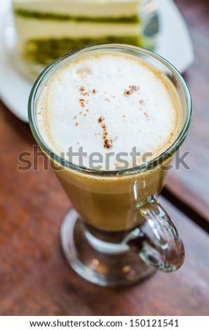 Mocha coffee on wood table - stock photo