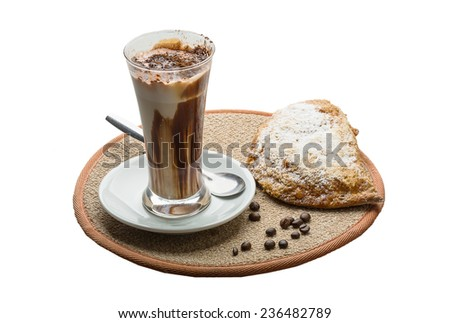 Mocha coffee with chocolate and powder - stock photo