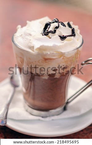 Mocha Coffee with Whipped Cream and Chocolate Topping - stock photo