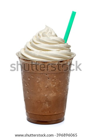 Mocha frappuccino on white background