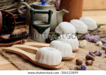 Mochi japanese dessert patties soybeans of delicious - stock photo