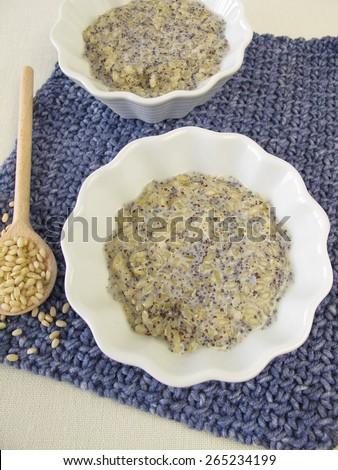Mochi milk rice pudding with poppy seeds - stock photo