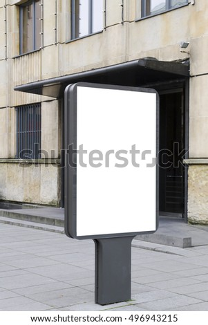 Mock up. Blank billboard outdoors, outdoor advertising, public information board in the city.