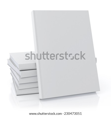 mock up blank book, isolated on white background - stock photo