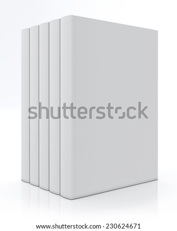 mock up blank books, isolated on white background - stock photo