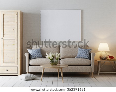 Mock up blank poster on the wall modern interior style. The beige tones. 3D render. - stock photo