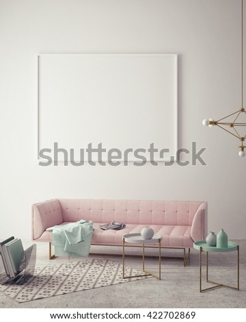 mock up blank poster on the wall of hipster living room, 3D rendering, 3D illustration - stock photo