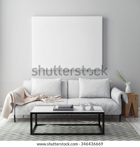 mock up blank poster on the wall of livingroom, 3D render - stock photo