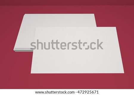 Mock up business card and cover horizontal format. White paper card for your design and template. Three-dimensional rendering.