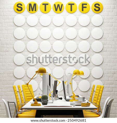 Mock up, conference room, calendar background - stock photo