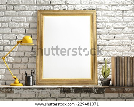 Mock up Golden Frame on Wooden table, brick wall - stock photo