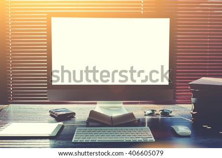 Mock up home desktop with accessories and work tools, pc computer and digital tablet with blank copy space screen, mouse and keyboard, empty touch pad and books, modern freelance work space in office  - stock photo