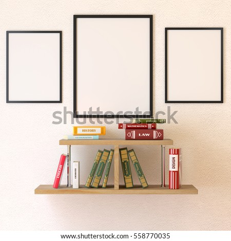 Mock Poster Bookshelf Shaped Christmas Tree Stock