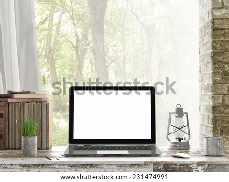 Mock up Laptop, Outdoor view, 3d illustration - stock photo