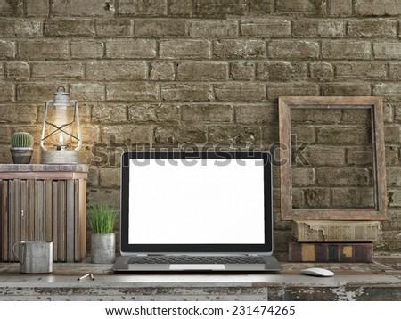 Mock up, laptop vintage brick wall,3d illustration - stock photo