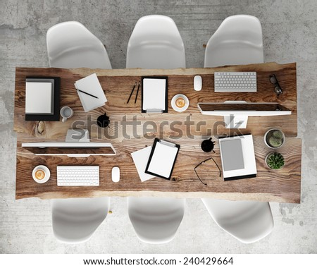 Mock Meeting Conference Table Office Accessories Stock Illustration - Conference table accessories