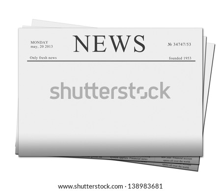 Mock up of a blank  newspaper with empty space to add your own news, advertisement or headline text and pictures, isolated on white background - stock photo