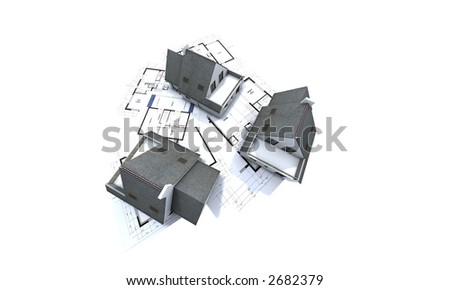 mock-up of houses on top of architect's plans - stock photo
