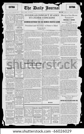 Mock up of tattered newspaper using fake latin [Tattered]